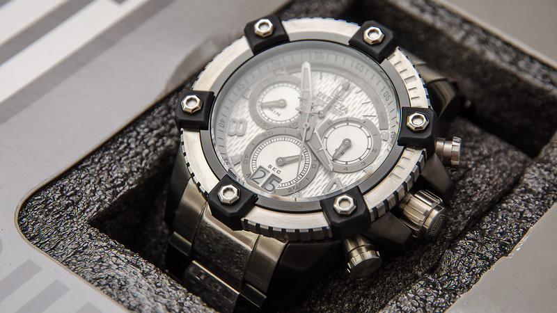 Invicta Men's 13047 Jason Taylor Chronograph Silver Textured Dial Two-Tone Stainless Steel Watch