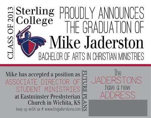 Mike's Grad Announcement No address