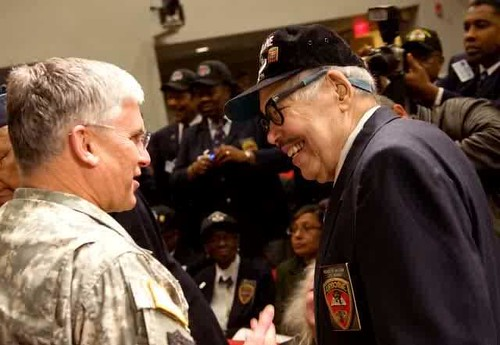 Gen. George W. Casey Jr., former chief of staff of the Army, talks to Lt. Col. Roger Walden during a recognition ceremony at the Pentagon on March 25, 2010. (U.S. Army)