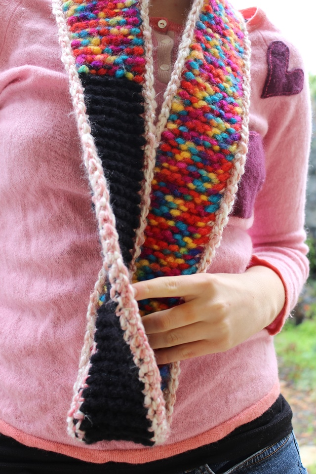 rainbow-and-black circle scarf