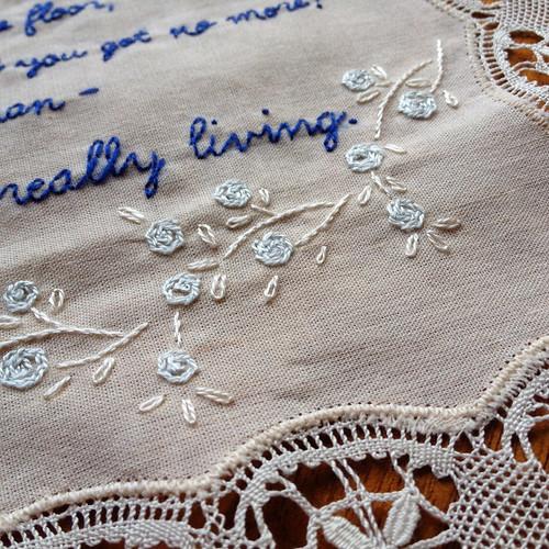 Eels Lyrics Embroidery - WIP