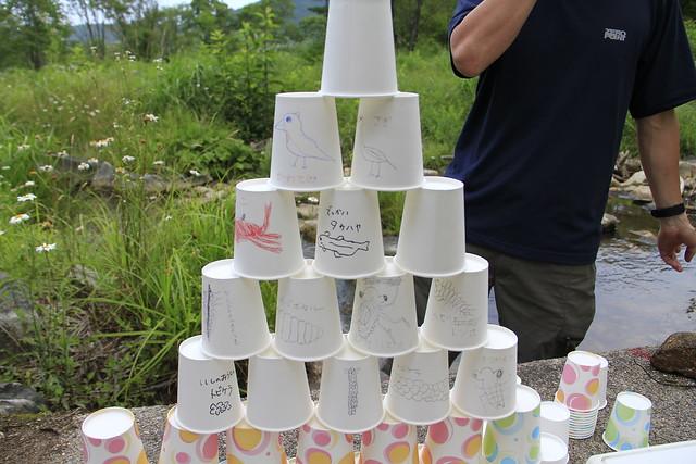 紙コップに絵を描き,川の生態系ピラミッドを使って解説する 岩見先生.子ども達は突如現れたタワーに興味津々.