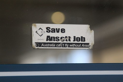 10 year old 'Save Ansett Jobs' sticker in their former terminal