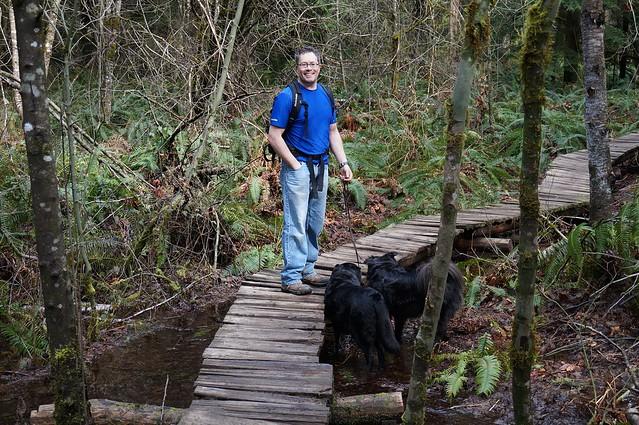 Josh on the footbridge
