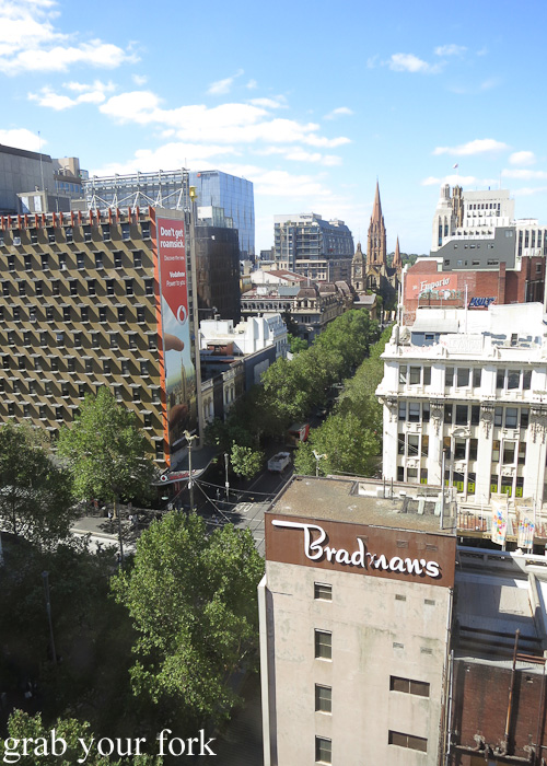 View of Swanston Street from level 11 of The Swanston Hotel Grand Mercure, Melbourne