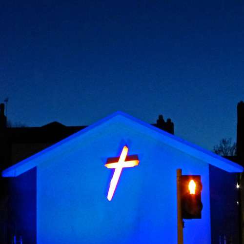 blue church, yellow cross, red man by pho-Tony