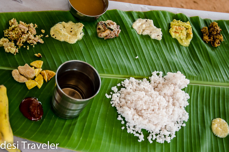 kerala blog express  sadya thali banana leaf  rice