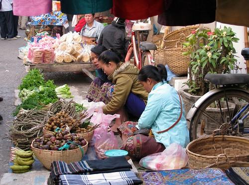 Vendedoras en el Mercado de Abastos de Luang Prabang