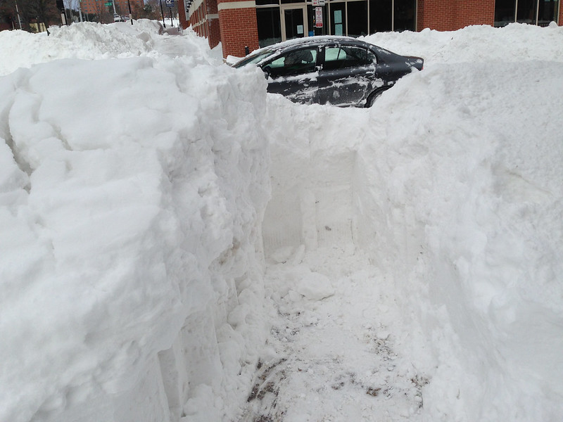 Unfinished snow removal path downtown