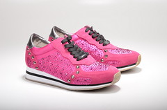 Liu Jo Running Aura Glitzer-Sneaker mit Nieten S14193 Kalbsleder / Canvas pink (1)
