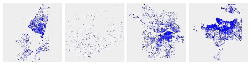 Composite of unlabelled car2go data for four Canadian cities