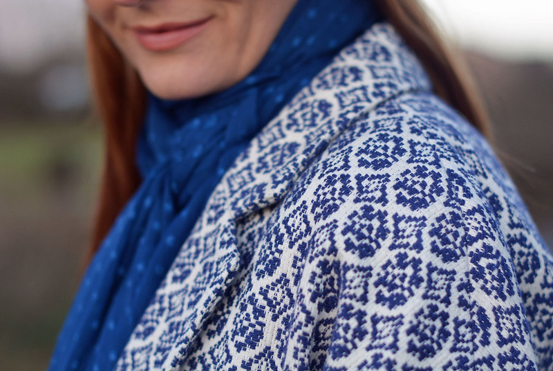 Blue tapestry coat, blue scarf