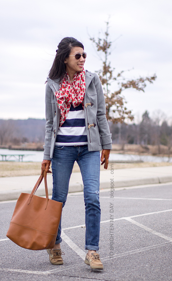 floral scarf, gray toggle coat, striped top, cognac brown tote