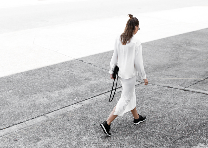 MODERN LEGACY sport luxe street style white on white midi skirt Common Projects black sneakers off duty (1 of 1)