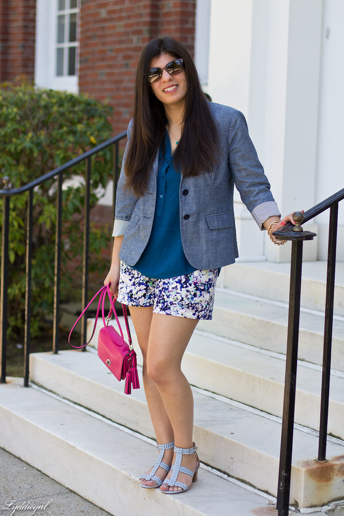 floral print shorts, blue top, pink coach bag.jpg