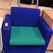 Blue green fabric reception chair