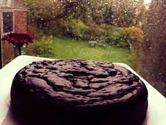 Chocolate aubergine cake, plus storm