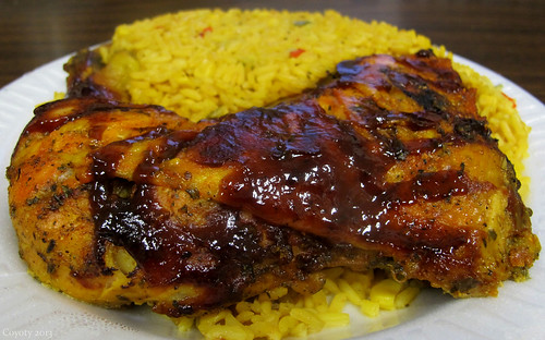Cold honey BBQ chicken and mixed rice & corn by Coyoty