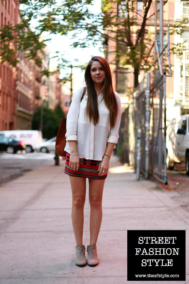 zara tribal skirt, sheer blouse, leather tote, suede booties, new york fashion blog, street fashion style, TheSFStyle, SFStyle,