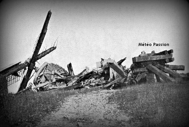 moulin des Ardennes en Belgique détruit par les violentes rafales lors de l'orage du 30 juin 1905 météopassion