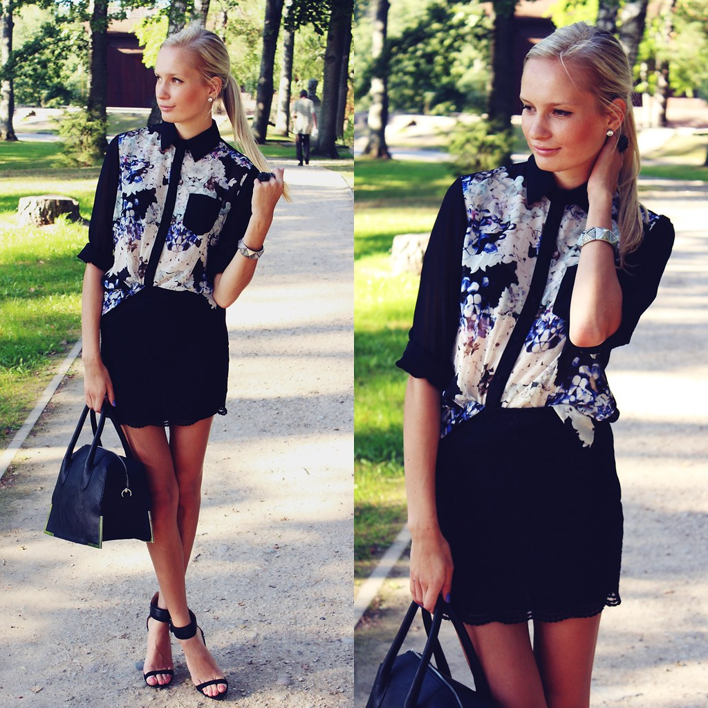 Floral print blouse, fashion blog, blogger, outfit of the day, black lace skirt, black tote bag, H&M, Persunmall, Zara sandals