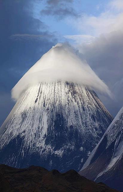 Lenticular Cloud over Klyuchevskaya Sopka Mountain, Russia