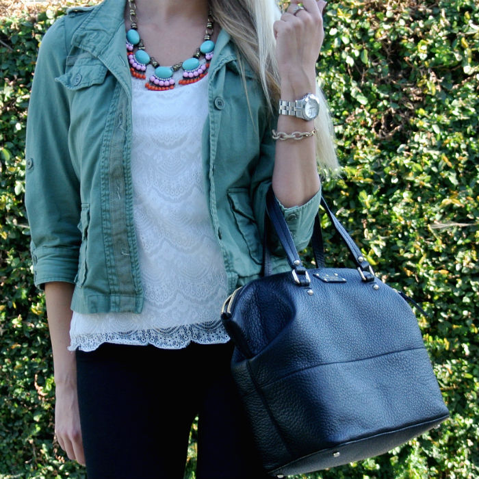 Outfit: olive green + lace