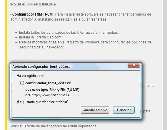 Imagen Configurador FNMT