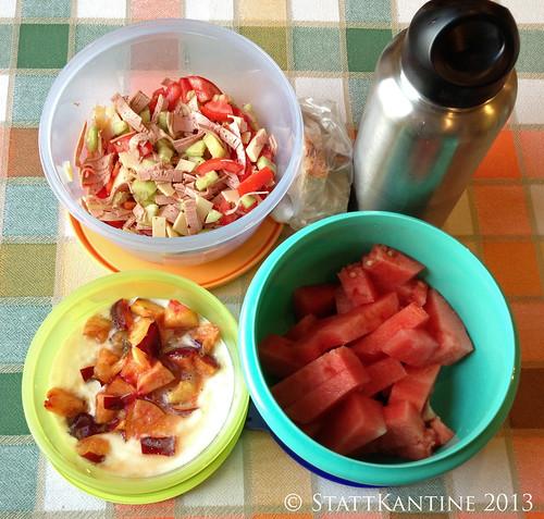 Stattkantine 29. August 2013 - Wurstsalat, Wassermelone, Joghurt