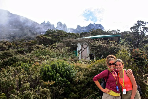 Lina and Dina at a rest stop… Kinabalu in the background