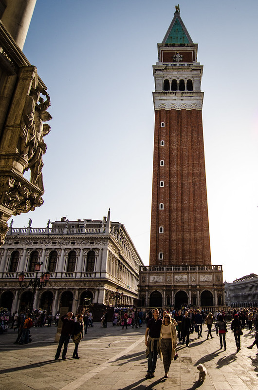 The St. Mark's Campanile in Venice at sunset.
