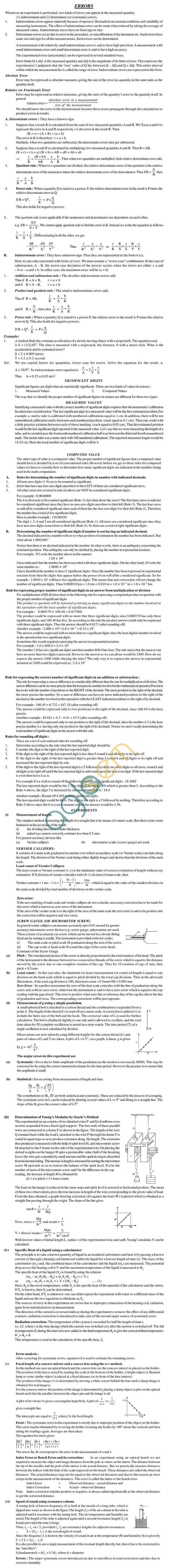 Physics Study Material - Errors in Mesurement