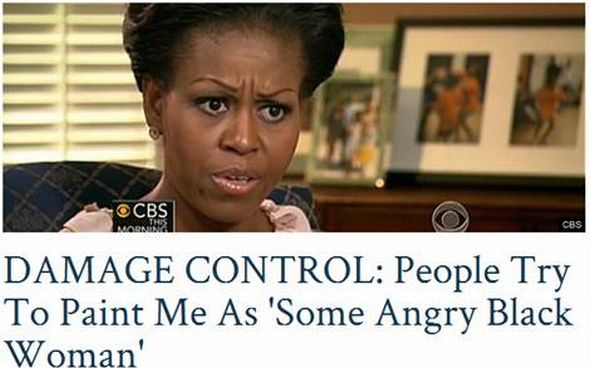 A headline of Michelle Obama saying people are trying to call her an angry black lady