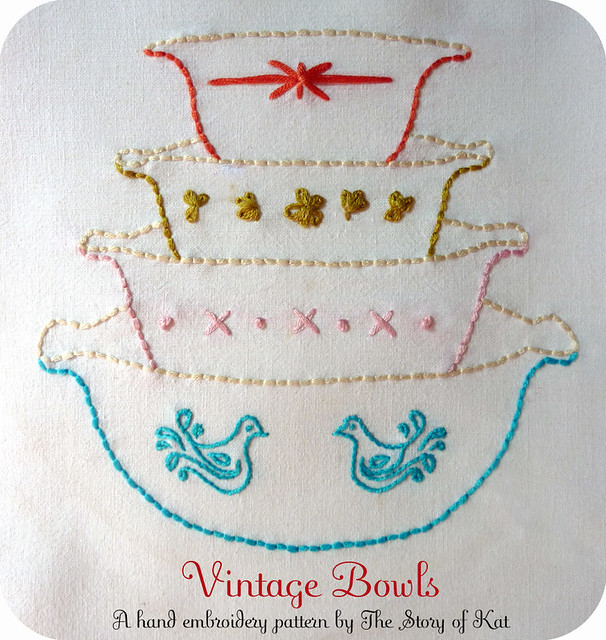 Vintage Bowls Hand Embroidery Pattern