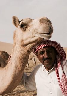 Camel and arab man