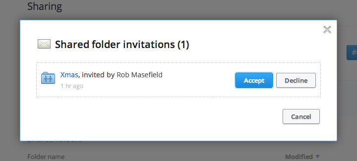Accept the shared folder request.