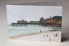 Hastings Beach Litho Print Greeting Card