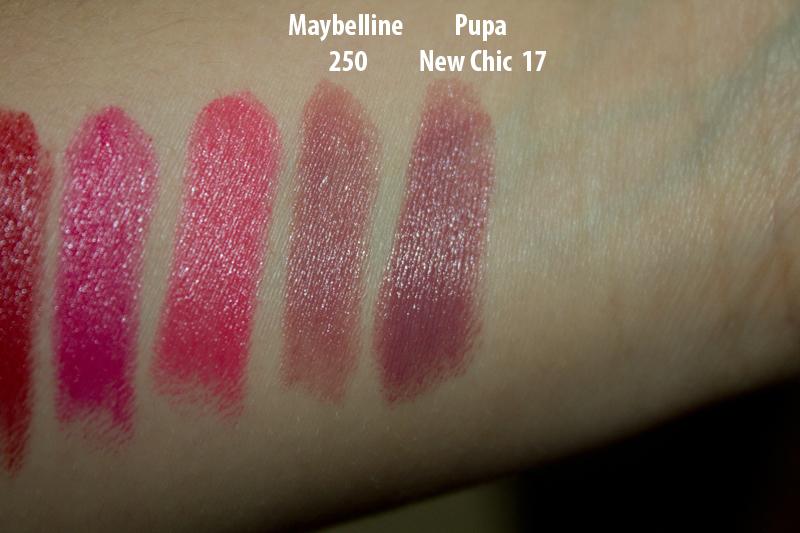 Свотчи Maybelline 250, Mystic Mauve; Pupa New Chic 17