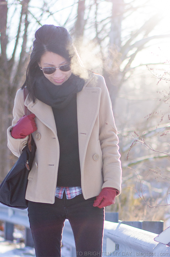 black infinity scarf, camel peacoat, plaid shirt