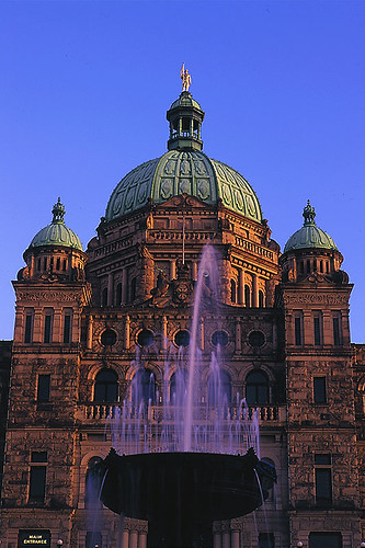 Legislative Building of the BC Government in Victoria, Vancouver Island, British Columbia, Canada