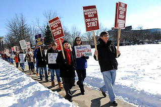 TNG-CWA Local 31167 members and supports in fair contract demonstration.