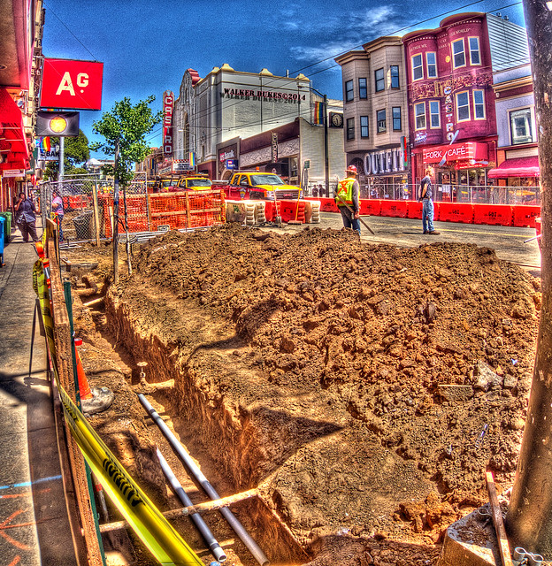 Trenches Expose Part of the Underbelly of Castro Street, HDR Panorama