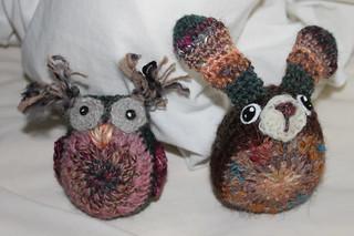 Handspun owl and easter bunny