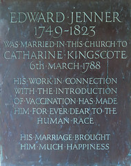 Photo of Catherine Kingscote and Edward Jenner brass plaque