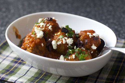lamb meatballs with feta, olives and lemon