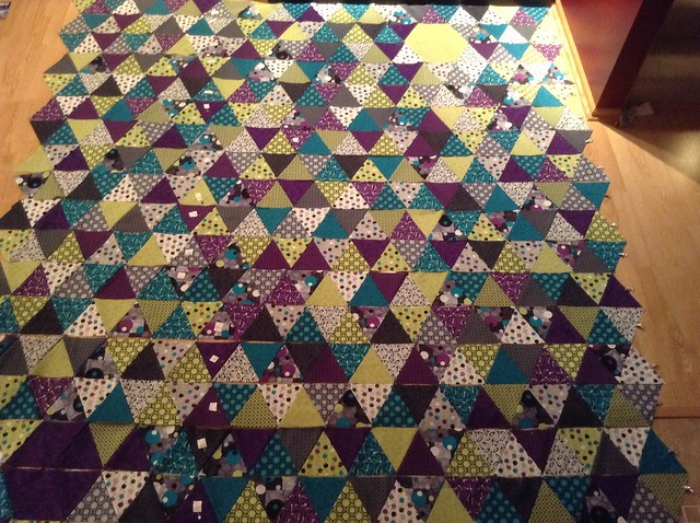 I finally have 18 finished rows. Now to sew these bad boys together...
