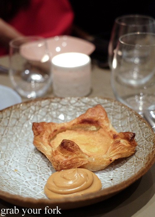 Lemon chess pie and malted custard dessert at Pinbone, Woollahra