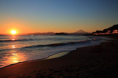 sunset seascape reflections view wave 富士山 mtfuji 神奈川県 日没 稲村ヶ崎