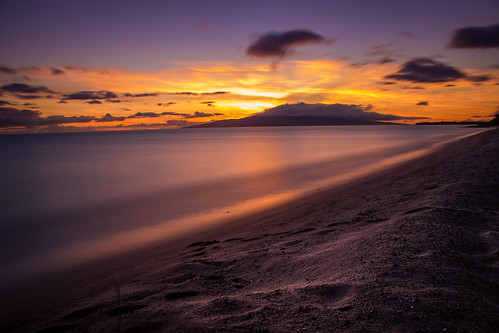 ocean longexposure blue sunset sea sky orange beach water clouds hawaii sand maui longshutterspeed
