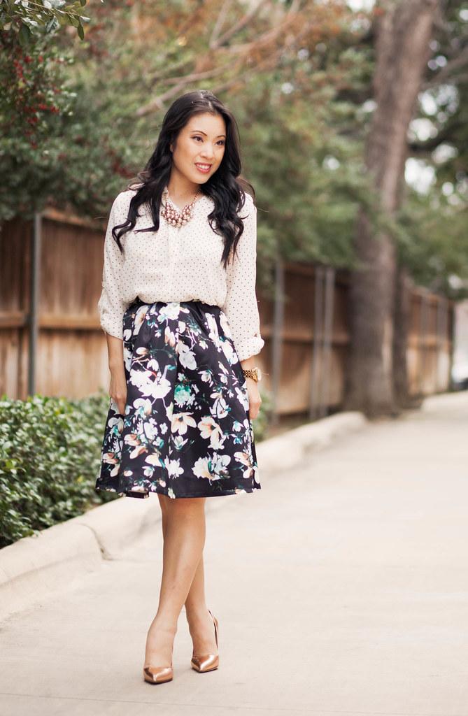 https://cuteandlittle.com | petite fashion blog | polka dot shirt, floral pleated skirt, kate spade rose gold pumps | dressy feminine spring outfit